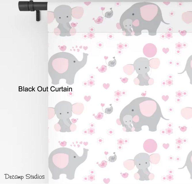 Pink Elephant Curtain Window Panel Baby Girl Safari Animal Etsy Elephant Nursery Decor Nursery Decor Girl Baby Girl Nursery Decor