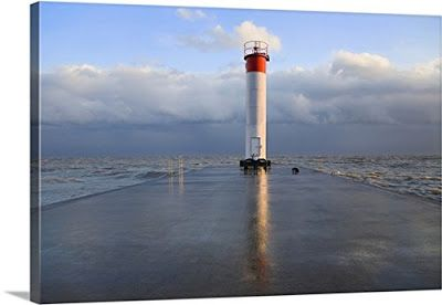 Lighthouse on Pier in Whitby Ontario - Canvas