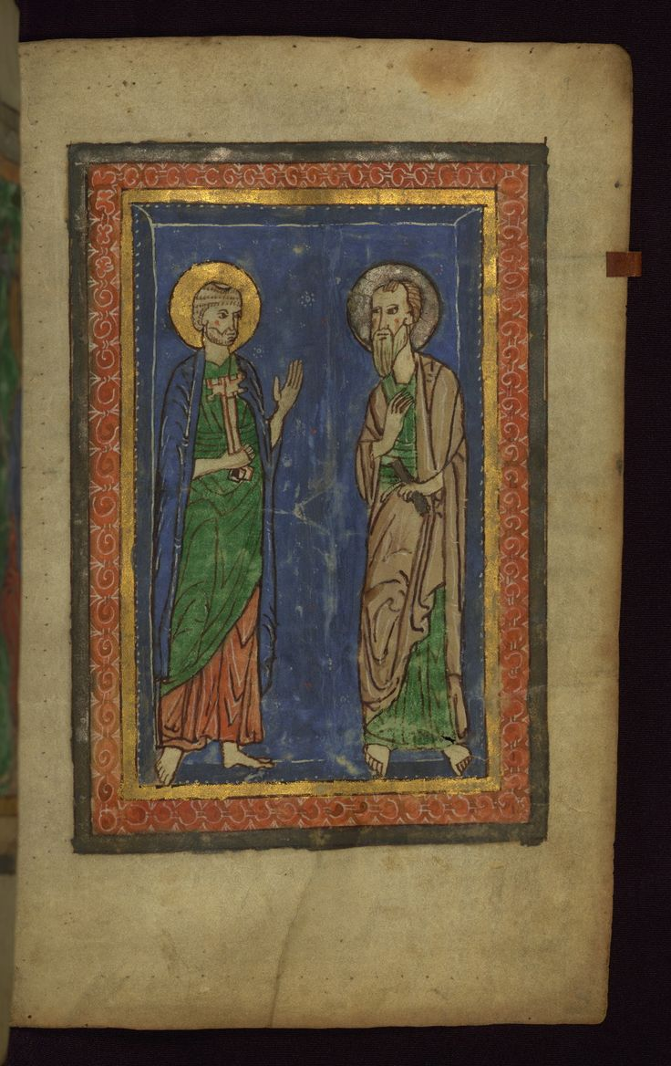 Peter and Paul -- Walters W26, f. 9r (c. 1200)
