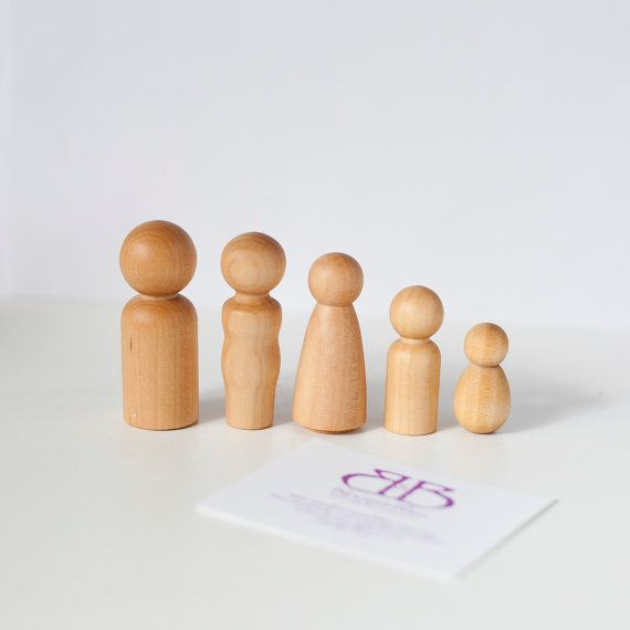 Natural Wood Toy Doll Family of 5 Gift Set by BloomAndBlissCA