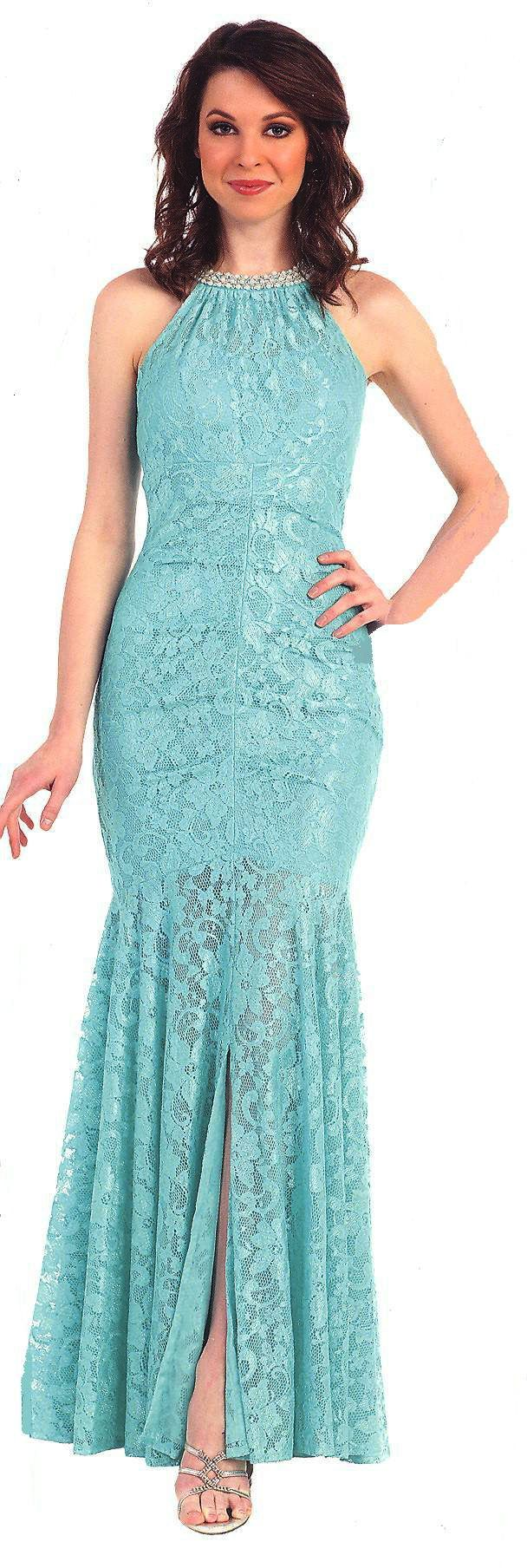 Bridesmaid Dresses Evening Dresses under $100<BR>1395<BR>Jewel neckline long lace mermaid gown featuring a full swirling lace flared skirt with small center slit.