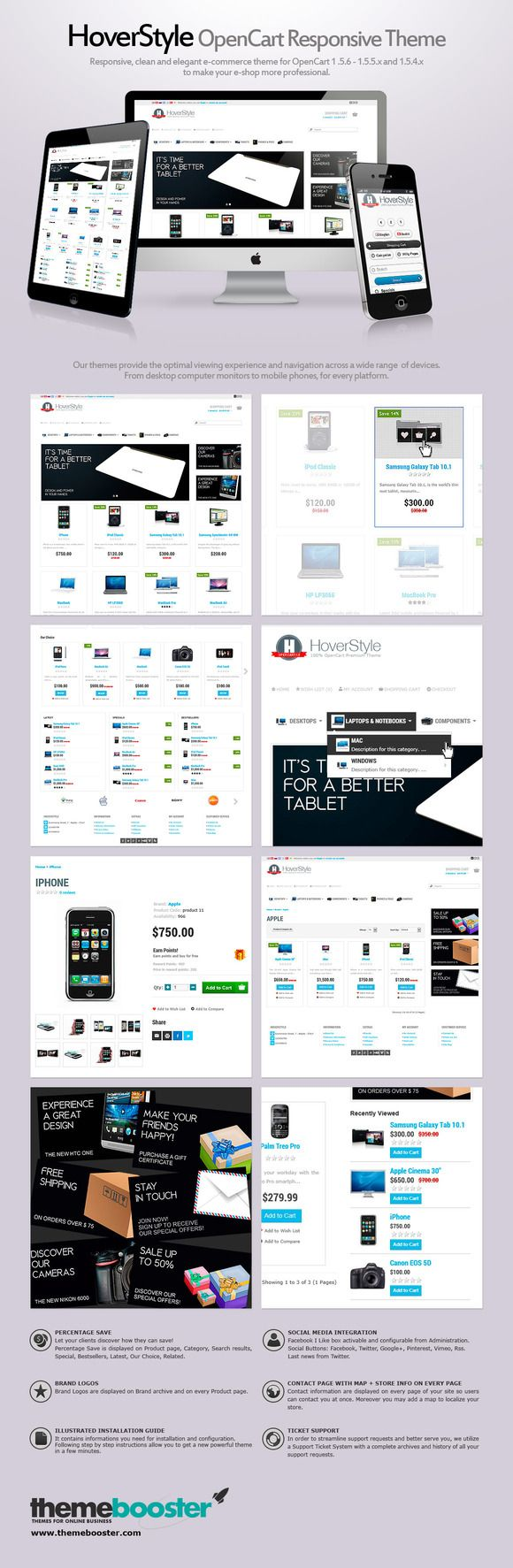 HoverStyle OpenCart Responsive Theme by ThemeBooster.com on Creative Market