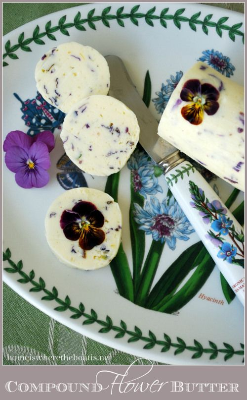 Compound Flower Butter, an easy and delicious detail that adds a 'wow' factor for a shower, garden club or treat at the breakfast table with edible flowers! #CookingWithFlowers #pansies
