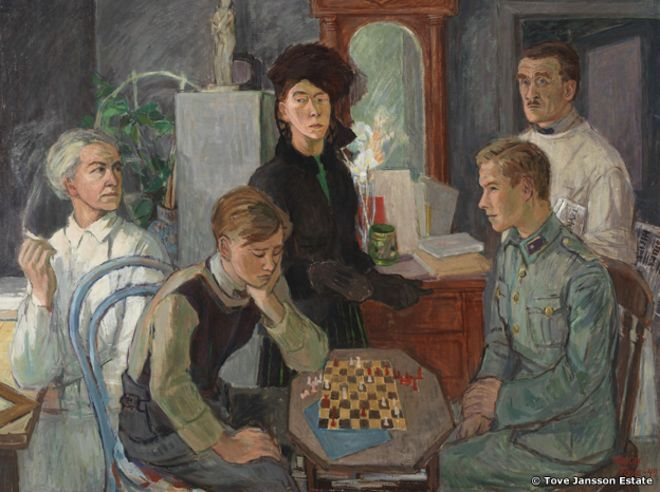 Tove Jansson, 'Family', 1942 [Brothers playing chess in the foreground]