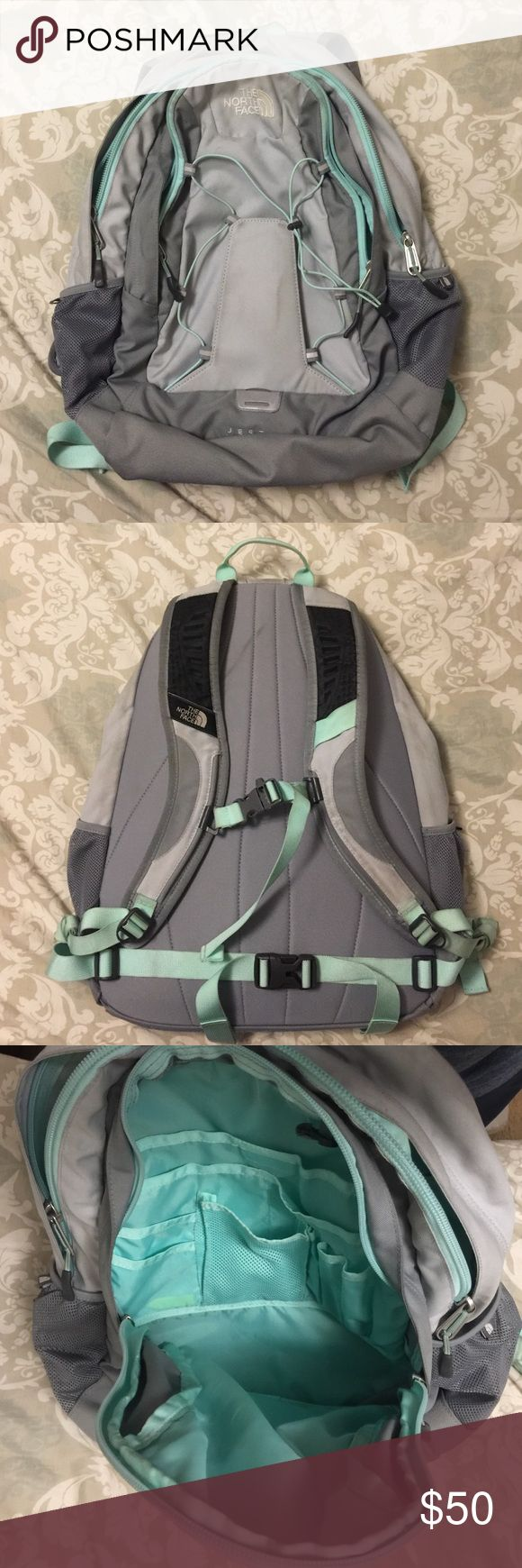 The North Face Jester Book Bag Bag is several shades of gray and a mint green/blue with white logo. Only had it for one year and used only for school so it is still in great condition! Normal dirt from wear, but can definitely be thrown in the wash to freshen it up. (Selling because I bought a new color) Offers with the offer button are welcome! No trades please :) North Face Bags Backpacks