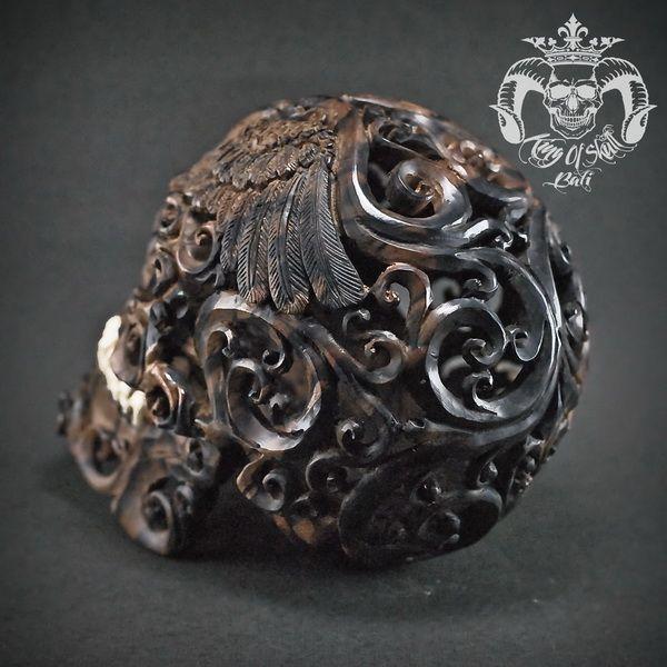 Detail Hand Carved Arang Wood Human Skull Filigree Memento Mori Find this skull on Etsy