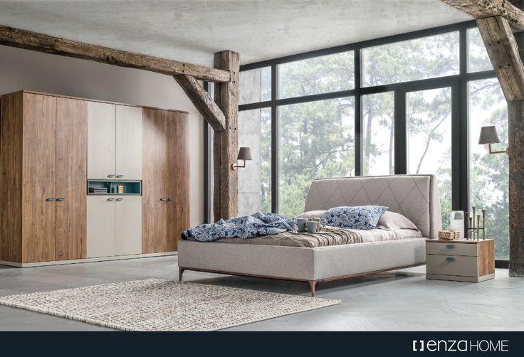 Ceviz, Sahra ve Turkuaz renk kombinasyonuna sahip Santiago Yatak Odası özel aksesuar bölmeli geniş depolama alanları ile evinize kalite, konfor ve yenilik getiriyor.