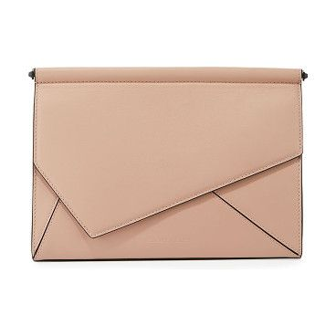 Ginza leather clutch bag by KENDALL + KYLIE. Kendall + Kylie smooth leather clutch bag. Asymmetric envelope flap top; magnetic closure Slip pocket under flap. Int...