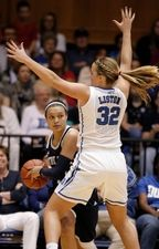 Notre Dame Fighting Irish guard Kayla McBride (21) looks to pass around Duke Blue Devils guard Tricia Liston (32) at Cameron Indoor Stadium. #7710356