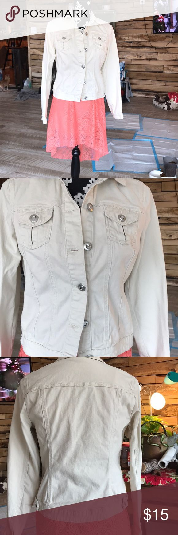 Cream jewel button jacket/cardigan This jacket is a collared cream colored one. It'd go perfect with a pink dress or a salmon colored dress. It has two chest pockets. No stains tears or holes. Only worn once to a party. baccini Jackets & Coats Jean Jackets