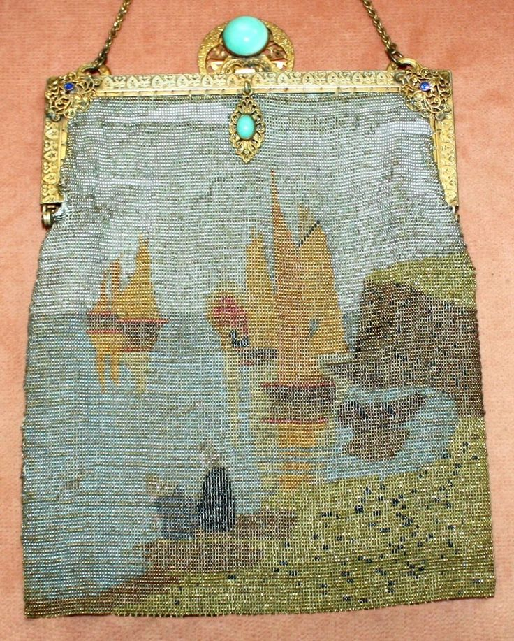 1920's French Purse with Asian Scenic Cut Steel Design and Jeweled Frame - In Need of TLC