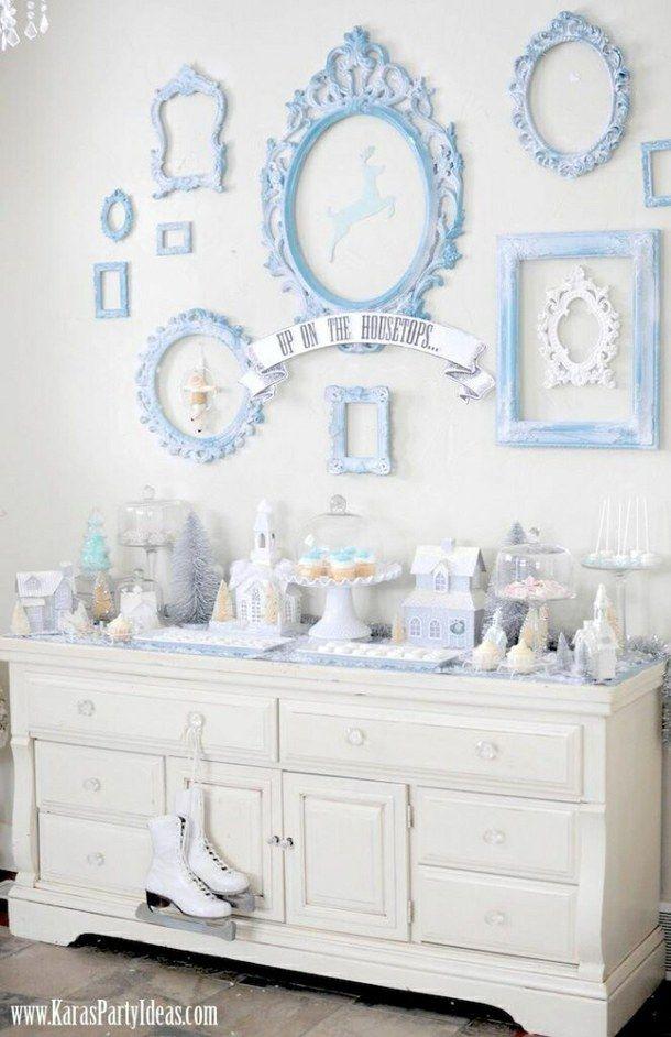 синий, рождество, пастели, красивая, потертый шик, белый, зима, чудес