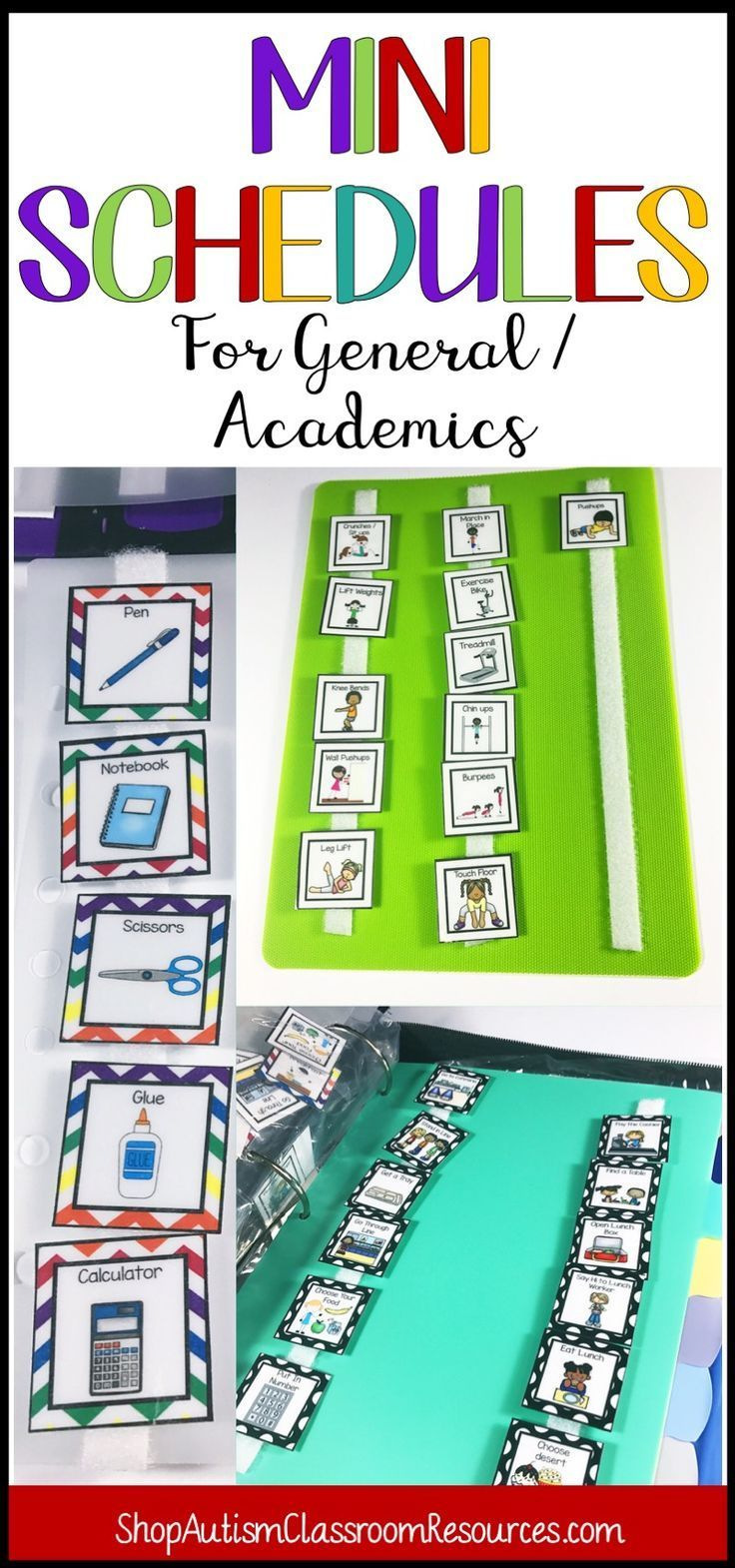 You have your daily schedules and calendars, but some students with autism still need extra activity-based schedules.  Schedules for science, PE, Recess, music, art, and academics in 5 backgrounds and 2 sizes.  You'll love these!