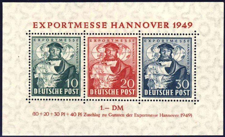 """Germany, Bizone, Bizone 1949, Exportmesse-Block, in der äußerst seltenen """"b""""-Farbe, postfrisch Pracht (postfr., Mi.-Nr.Bl. 1 b/Mi.EUR 3.400,--). Price Estimate (8/2016): 1.200 EUR."""