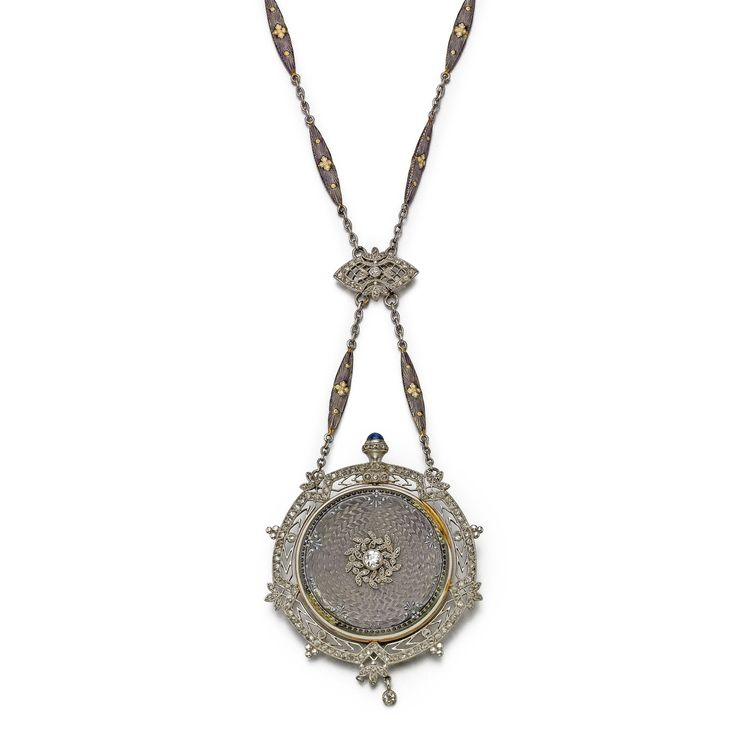 PATEK PHILIPPE A FINE AND RARE LADY'S DIAMOND-SET 18K YELLOW GOLD, PLATINUM AND ENAMEL OPEN-FACED PENDANT WATCH, RETAILED BY WILLIAM KENDRICK & SONS, LOUISVILLE, KENTUCKY 1908 MVT 154641 CASE 257969