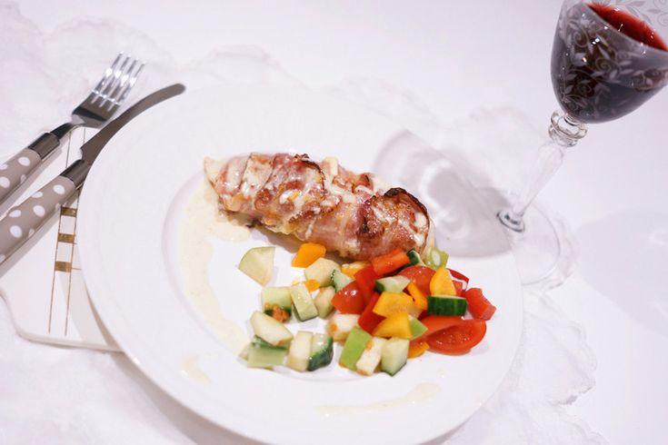 Baconsurret ostefylt kylling