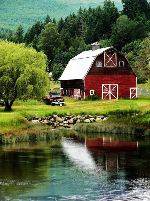 If i ever get to have my dream farm, this is the barn I want with it! and the pond too!