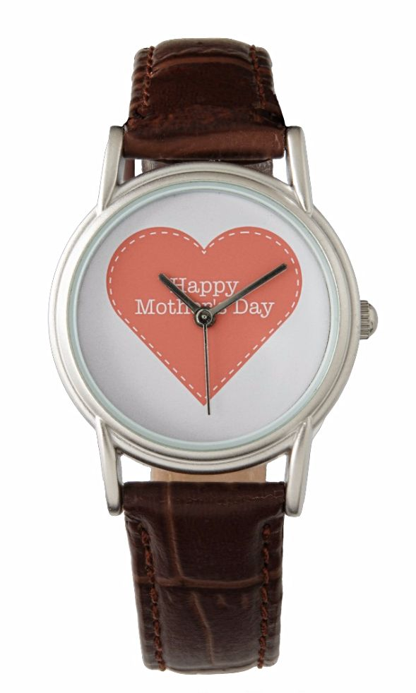 """Happy Mother's Day Orange Heart Women's Watch Orange Heart Women's Watch for Happy Mother's Day. You can click """"Customize it!"""" to create your gift by uploading your own photo/ picture/ design and/or adding texts. A special gift for her, for mom, for Mother's Day.  https://www.zazzle.com/happy_mothers_day_orange_heart_womens_watch-256868351364656412?rf=238478323816001889 to get 25% off with code ZAZZSITEDEAL. See more products on collection…"""