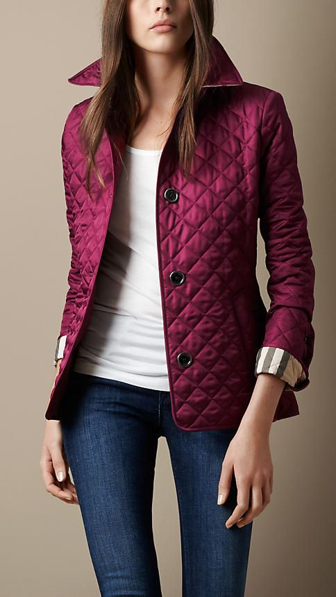 Cinched Waist Quilted Jacket   Burberry. Have this in black.....need this color