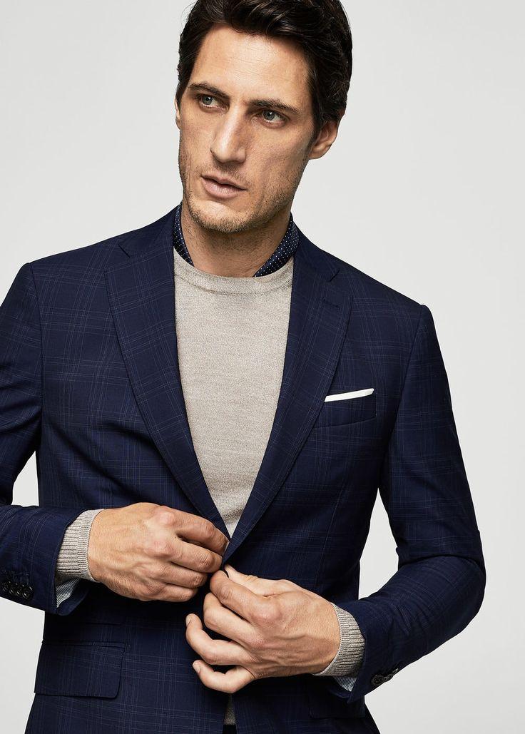 Americana traje slim-fit lana cuadros | MANGO MAN