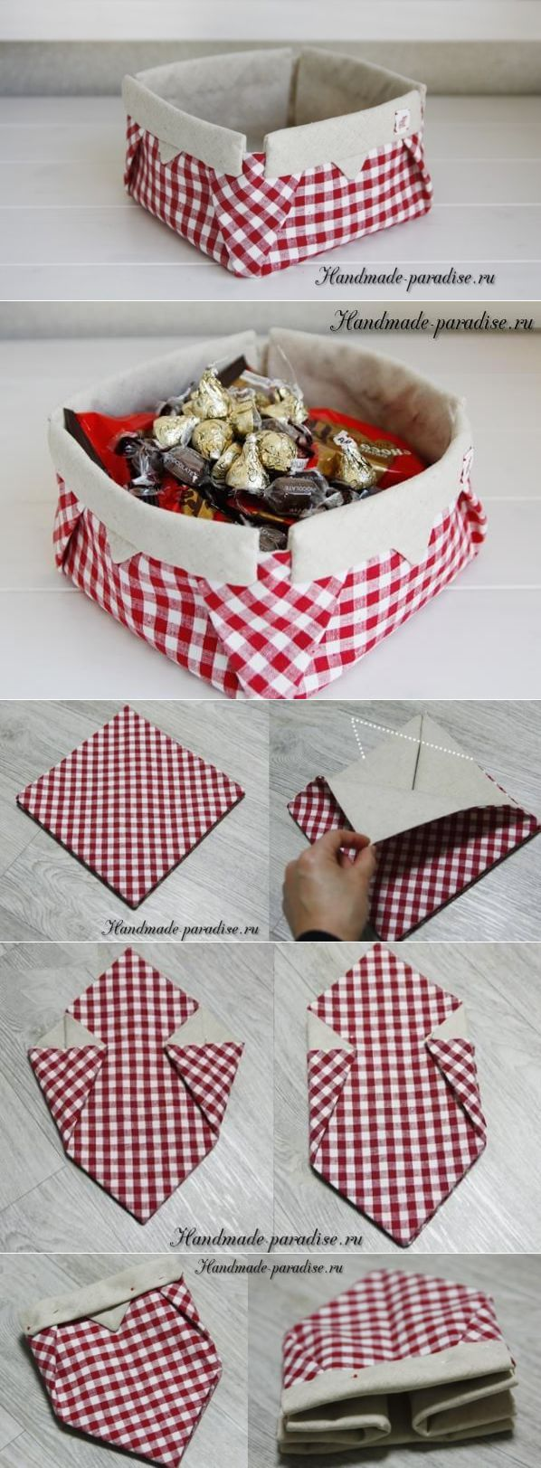 Корзинка из ткани в технике оригами - Handmade-Paradise
