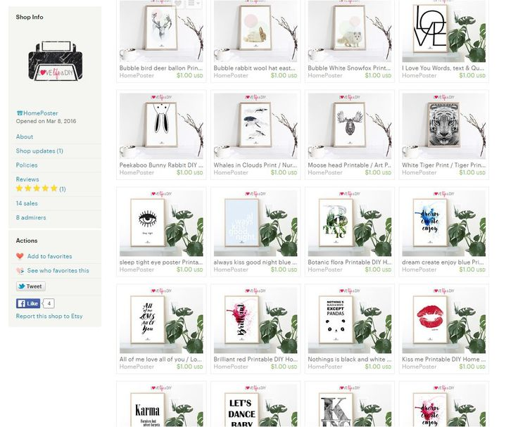 HomePoster's Shop Announcement Easy home printing! Home Poster offers a wide range of high quality printables at low cost, only $1 Dollar! Buy 3 prints DISCOUNT CODE <ONE4FREE>