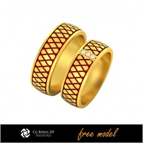 3D CAD Wedding Ring With Enamel - Free 3D Model