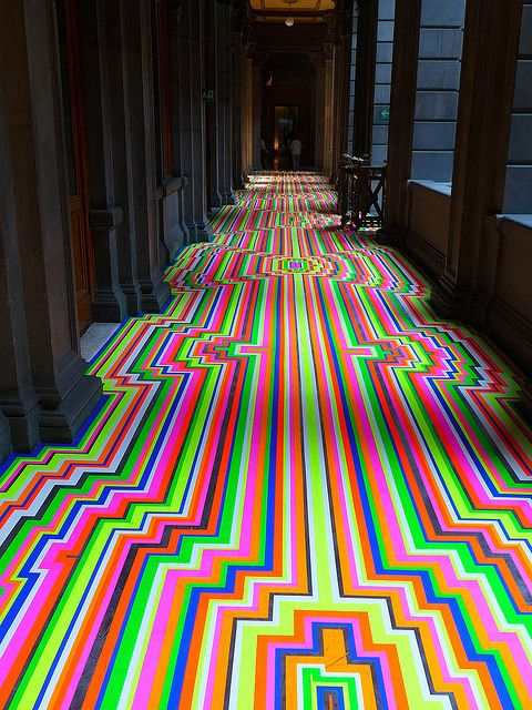 A beautiful, colorful abstract art floor in Mexico City. #coloreveryday