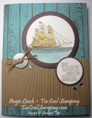 The Open Sea With New In Colors - hardwood, woodgrain, masculine, father's day, stampin up  Details at www.toocoolstamping.com