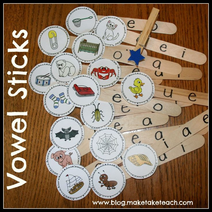 Free printable for creating your own vowel sticks.  The self-checking feature makes this activity ideal for small group instruction.