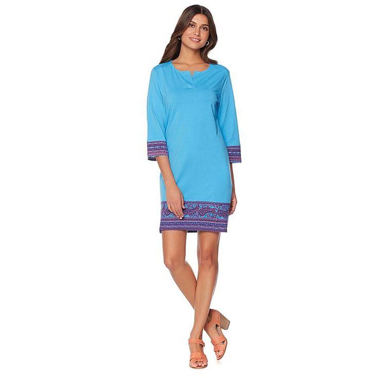 Coolibar® ZnO Suntect® Border Print Dress - Sailor