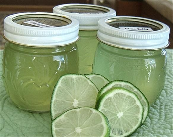 Lime Jelly from Food.com: This lime jelly is sweet with bursting lime flavor. I only make this when I can get the limes on sale. Don't use too much food coloring as it will look artificially green. Found this recipe on-line.