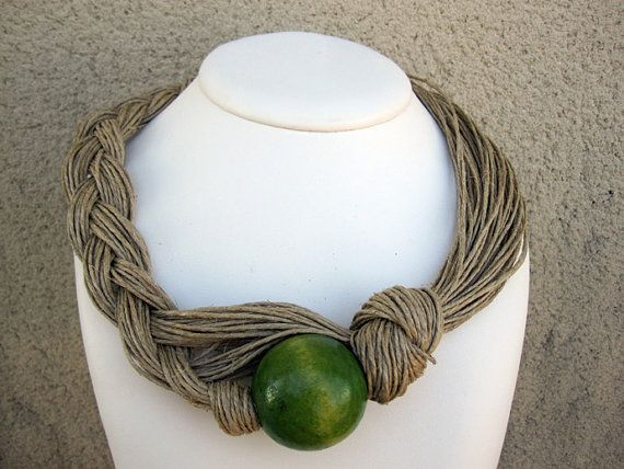 Wood Necklace Natural Linen Eco-Friendly Knots Braid Green Orange Brown Bead XL Mediterranean Style Handmade