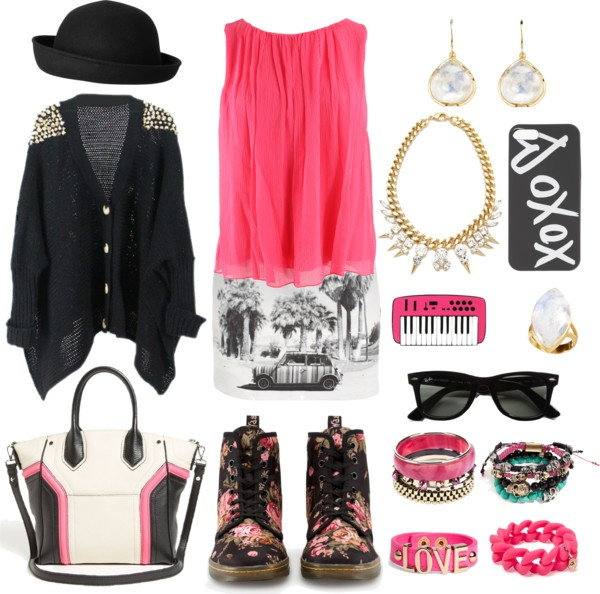 """""""Pink chiffon shirt & print mini skirt; Part 1: The shy/sweet one"""" by gubis ❤ liked on Polyvore"""