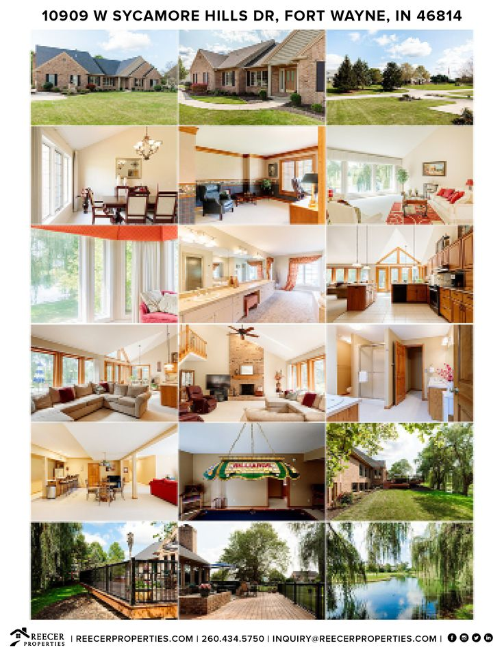 Reecer Properties • 10909 W Sycamore Hills Drive, Fort Wayne, IN 46814 • Contact Reecer Properties at 260.434.5750 to schedule a private tour!