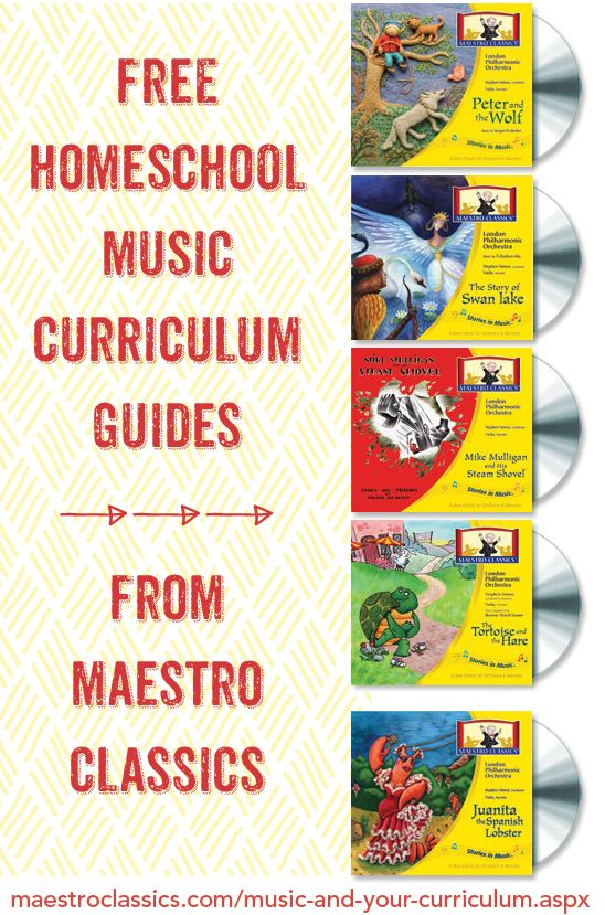great resource for #homeschool music! Online curriculum guides incorporate History, Math, Science and other topics to tie in with music CDs