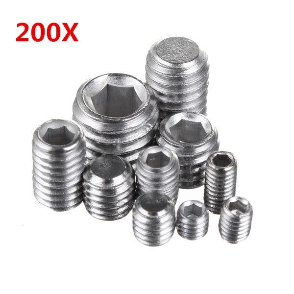 200Pcs de acero inoxidable de cabeza hexagonal hexagonal Hex conjunto Grub tornillo surtido