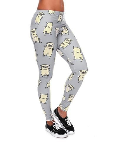 Pug Yoga And Meditation Leggings For Woman