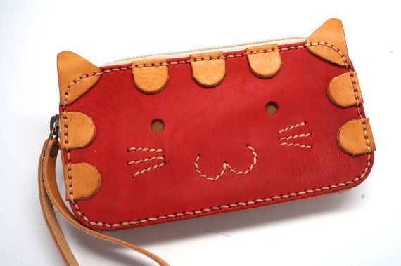 Kitty leather bag, Leather Phone case and wallet, Leather wristlet clutch phone bag, small wallet, Minimal zipper pouch, Pencil pouch, red