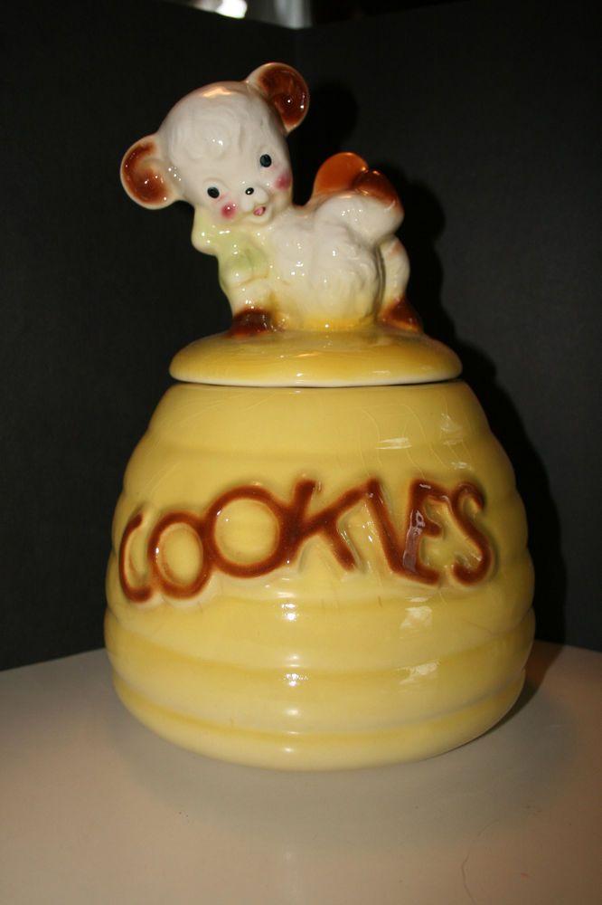 Vintage Dog Cat Biscuit Jars