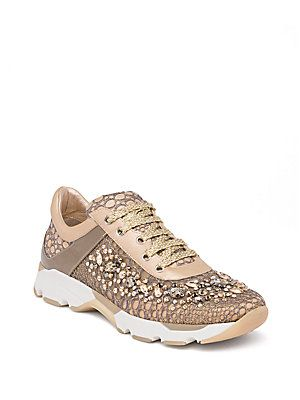 Rene Caovilla Swarovski Crystal-Embellished Lace Sneakers