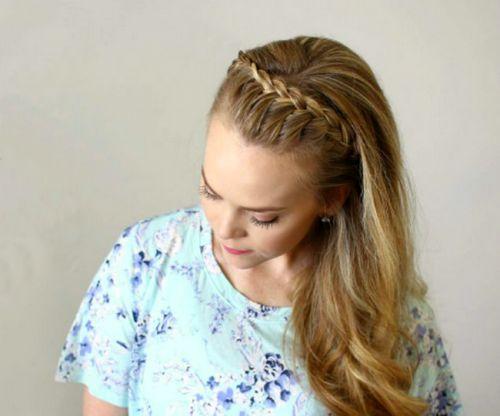 Коса-ободок с начесом на макушке