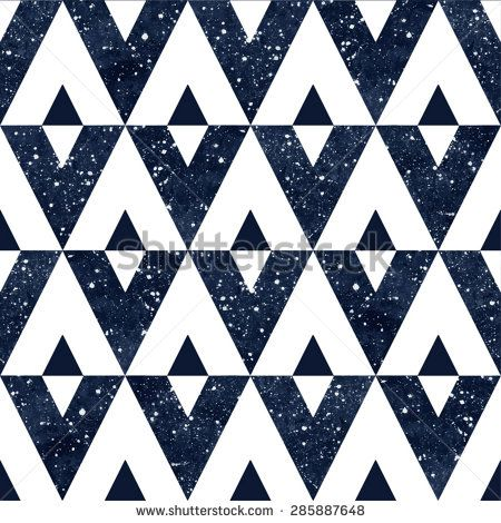 Triangles seamless vector pattern. Watercolor dark blue night sky with stars. Cosmic geometrical background.