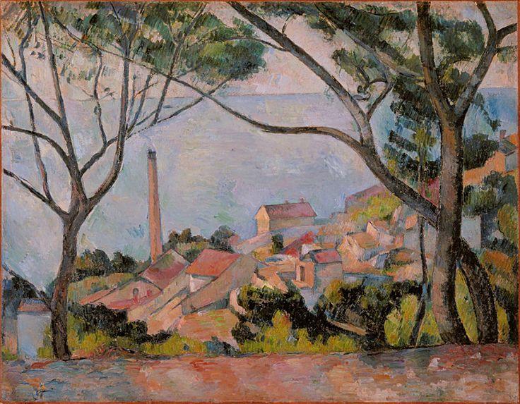 CEZANNE,1878-79 - Mer à l'Estaque derrière les Arbres - Sea at L'Estaque - 0   - Cézanne à Pissarro : « J'ai commencé deux petits motifs où il y a la mer, pour Monsieur Chocquet qui m'en avait parlé. – C'est comme une carte à jouer. Des toits rouges sur la mer bleue. Si le temps devient propice peut-être pourrais-je les pousser jusqu'au bout. En l'état je n'ai encore rien fait. » (L'Estaque, 2 juillet 1876)
