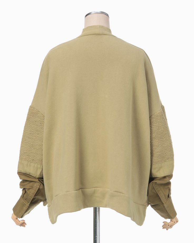 Mixed Fabric Sweatshirt - beige | mame