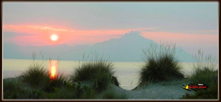 Sunrise in Sarti, Nikon Coolpix L310, panorama mode: segment 6, HDR-Art / Tilt-Shift phorography 2014.