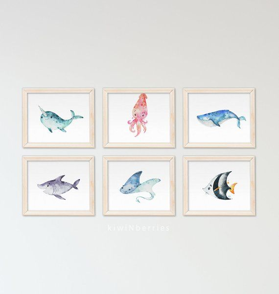 Nursery Wall Art Ocean Themed Nursery Nautical Sea Nursery Kids