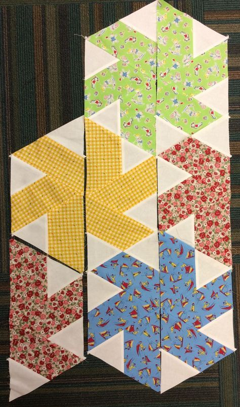 Tiny Dancer is one of my favorite quilt patterns by designer Julie Herman for Jaybird Quilts. When Corey Yoder's Sundrops collection came into the shop, I knew the twirly design, Tiny Dancer, was just the one to make up with this fun fabric. To make this pattern, begin with strips cut 6 ½""