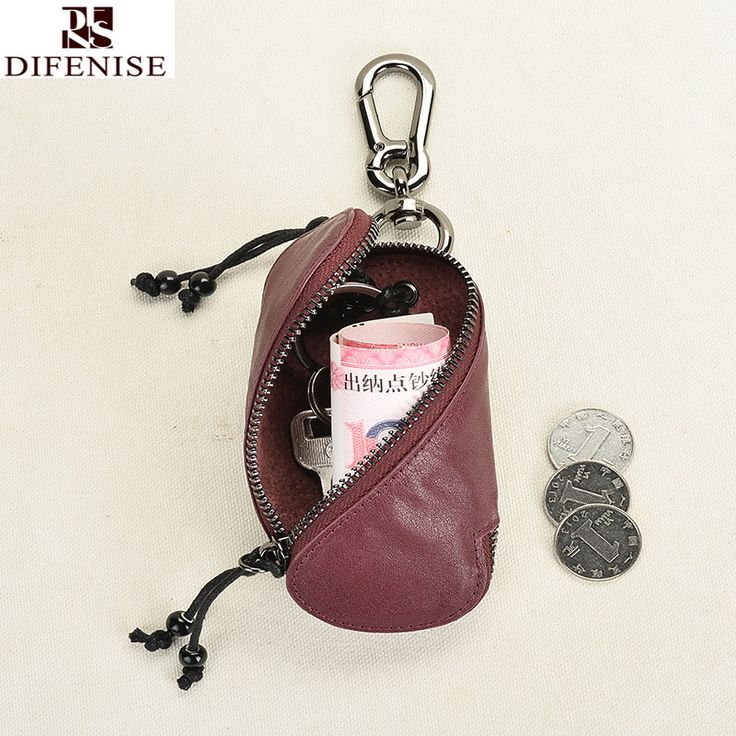 Difenise Brand 2016 Genuine Leather Mens Key Wallets Key Holder Housekeeper Keys Organizer Zipper Key Case Car Key Luxury Bag