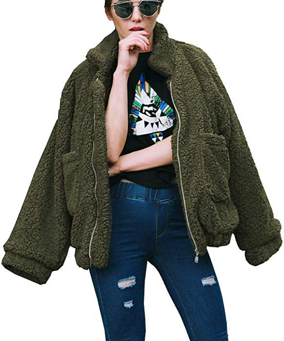 cfc6b16b5 PRETTYGARDEN Women's Fashion Long Sleeve Lapel Zip Up Faux Shearling Shaggy  Oversized Coat Jacket with Pockets Warm Winter (Green, Small) at Amazon  Women's ...